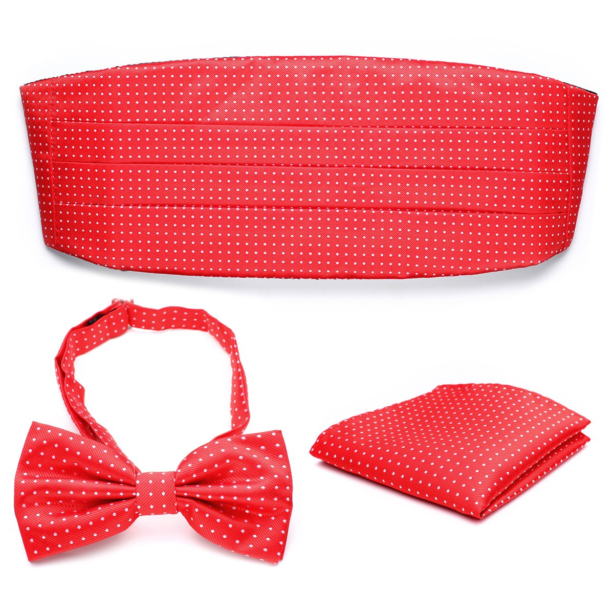 PenSee Mens Polka Dot Exquisite Silk Pre-tied Bow Tie & Hankerchief & Cummerbund Set-Various Colors PSK04-034