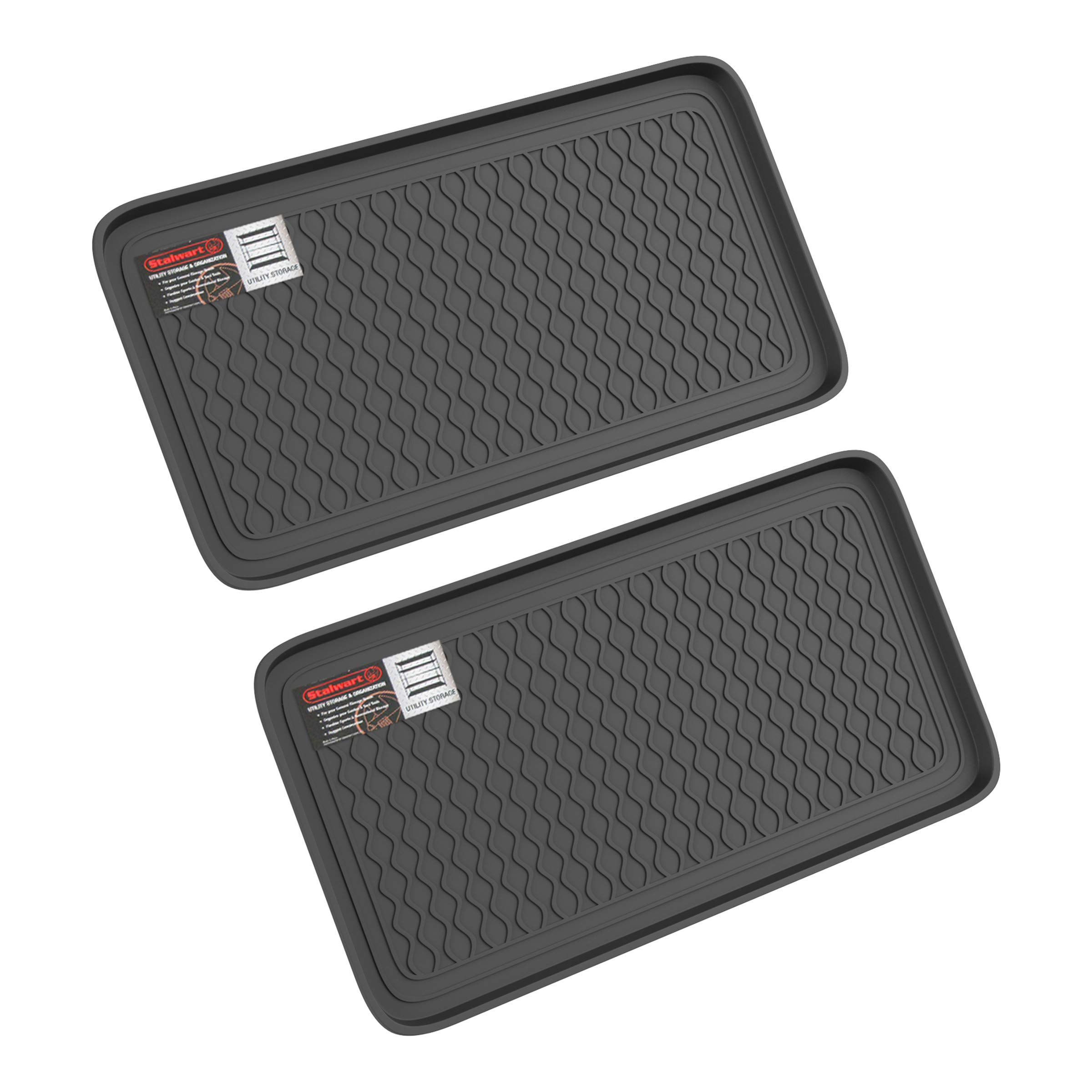 Stalwart 75-ST6102 Weather Boot Tray-Large Water Resistant Plastic Utility Shoe Mat for Indoor and Outdoor Use in All Seasons (Set of Two, Black) by Stalwart (Image #8)