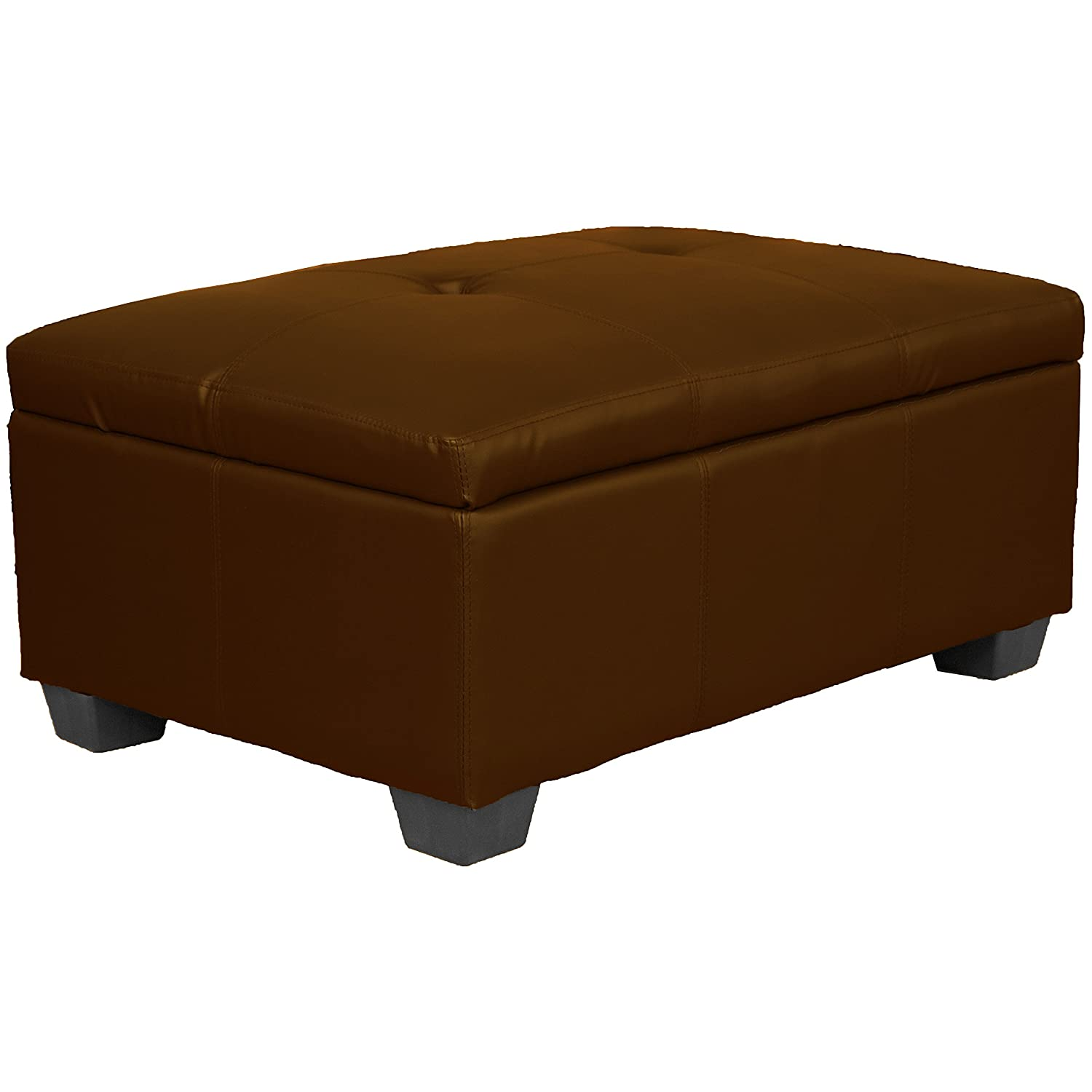 36 x 24 x 18 high Tufted Padded Hinged Storage Ottoman Bench, Leather Look Saddle Epic Furnishings - DROPSHIP OttoLLSaddle1
