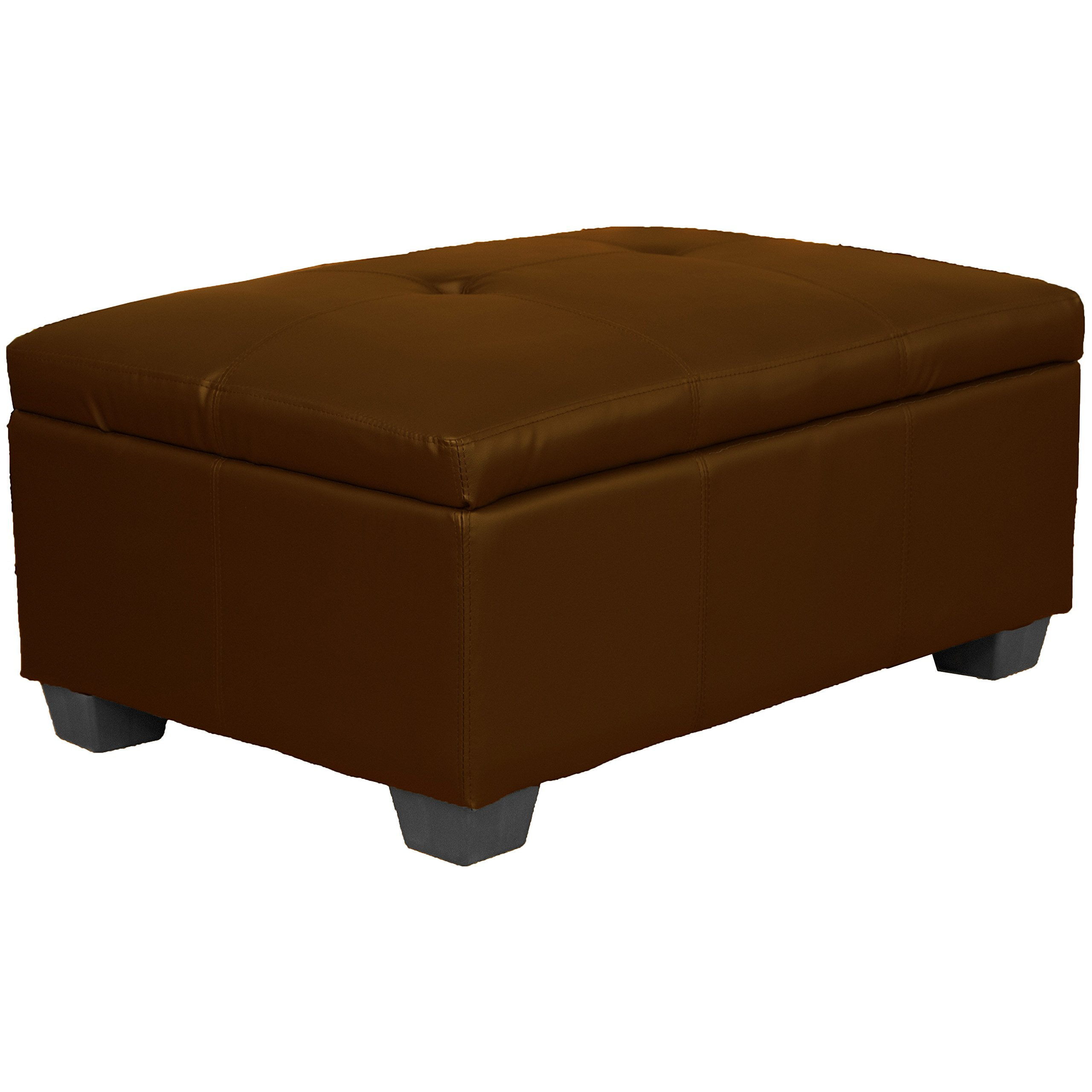 36'' x 24'' x 18'' high Tufted Padded Hinged Storage Ottoman Bench, Leather Look Saddle by Epic Furnishings