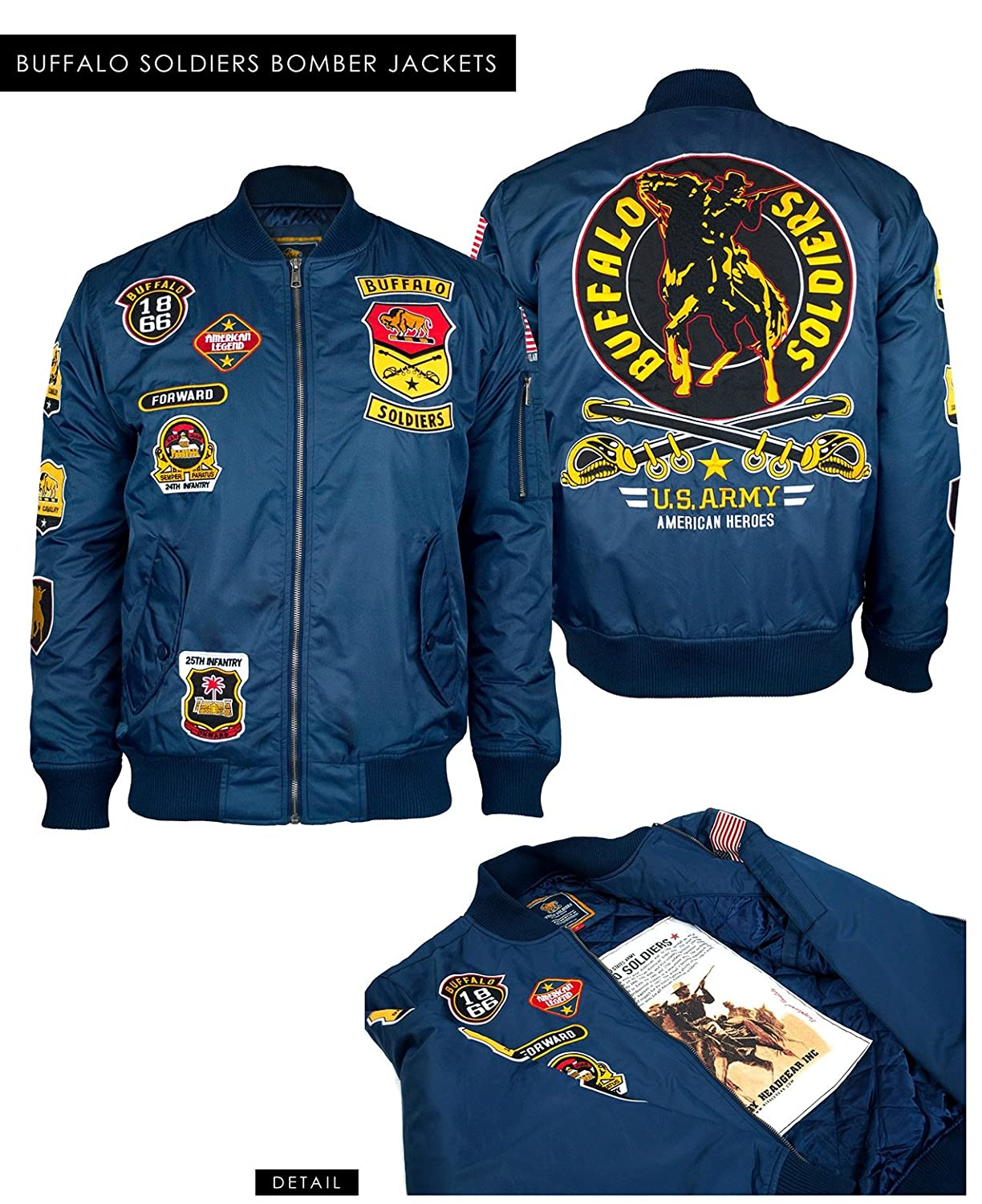 0b03341bf BUFFALO SOLDIERS US ARMY BOMBER JACKET US ARMY FIGHTER PILOT STYLE ...