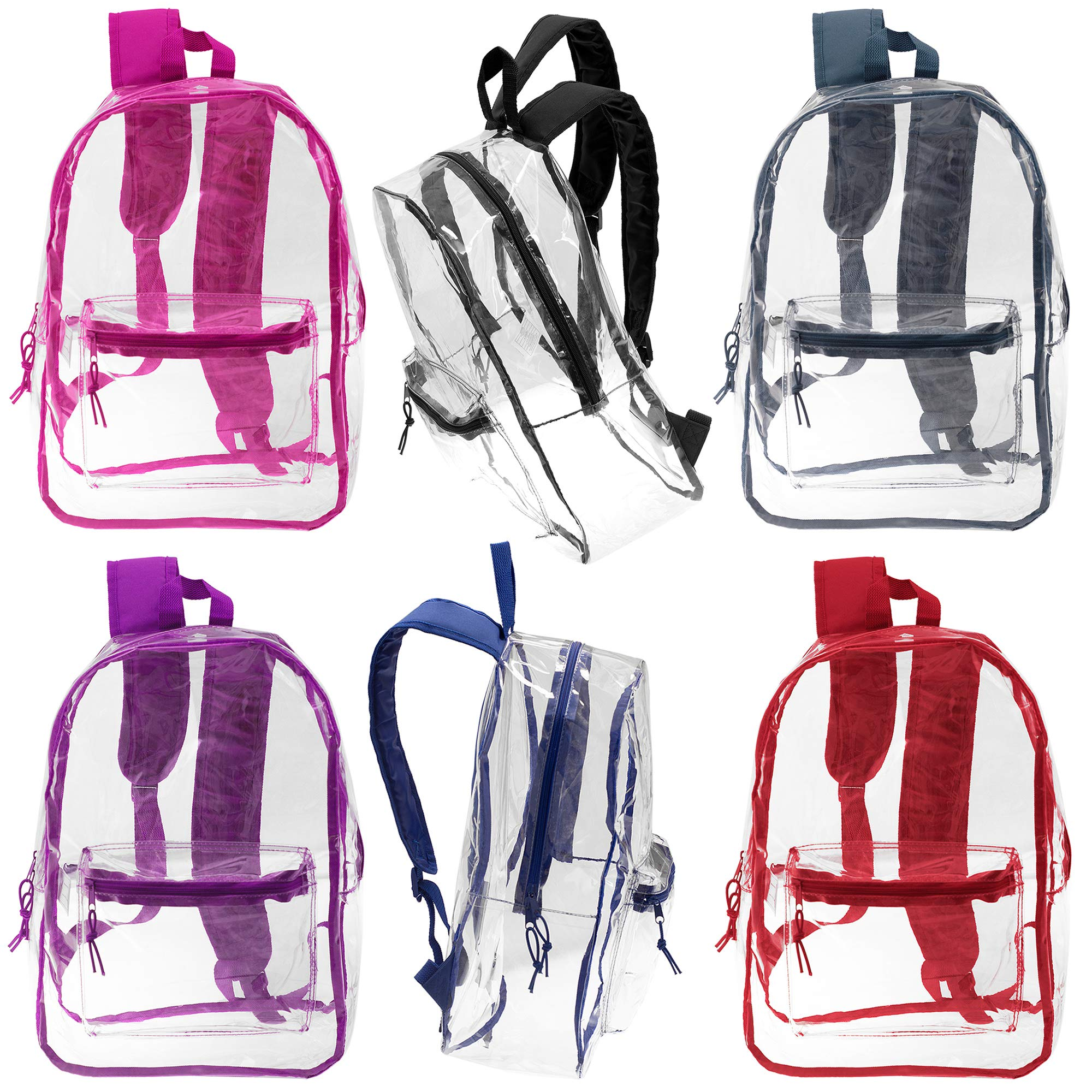 17 Inch Wholesale Deluxe Clear Backpacks in 6 Assorted Colors - Bulk Case of 24 Bookbags by Moda West