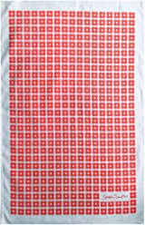 Sarah Smith Tea Towel | Red Daisy | 100% Cotton | Includes Hanging Loop