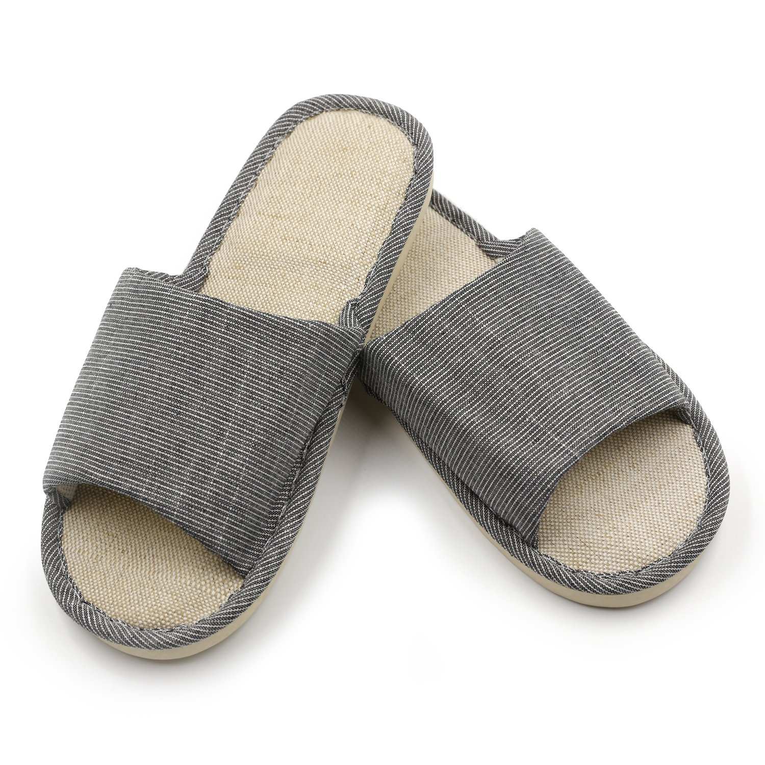 topgalaxy。Z Cotton Flax Casual House Indoor Slippers open-toes thick-soleストライプスライドスリッパ B075D7V3W6  ブラック 270MM(Men US 8.5-9.5)