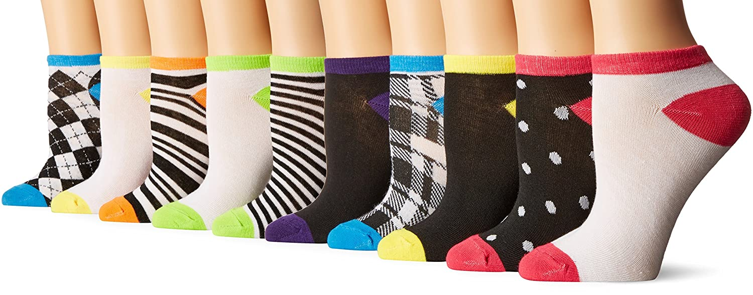 Chatties Women's Petite Printed Low Cut Socks 10 Pack-58 Black/White/Blue 9-11 GD36559
