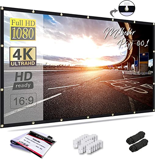 Mdbebbron 120 inch Projection Screen 16:9 HD Foldable Anti-Crease Portable Projector Movies Screen for Home Theater Outdoor Indoor Support Double…