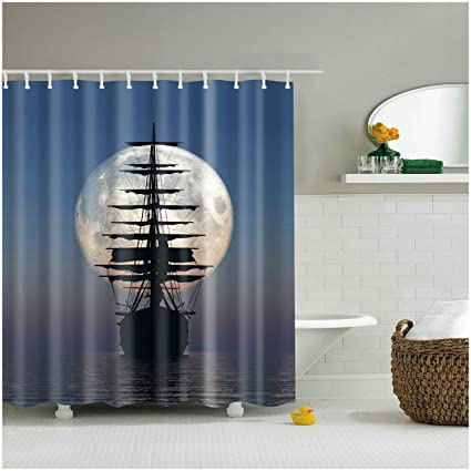 Fangkun Shower Curtain Art Painting   Driving Vintage Sailing Pirate Ship  In The Moonlight Design