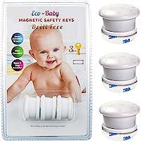 Eco Baby - Cierre magnético de seguridad para clóset y cajones a prueba de niños, 3 pack keys, Blanco