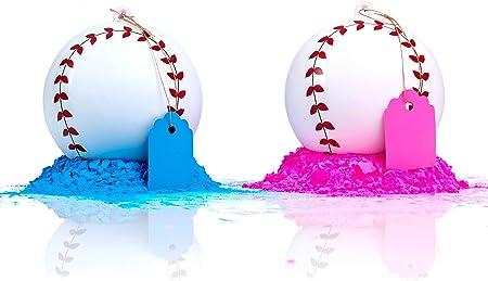 Género Reveal Béisbol 2 Pack | Rosa y Azul Set | Exploding Powder Baseball | Género Reveal Party Ideas | Ultimate Party Supplies: Amazon.es: Hogar