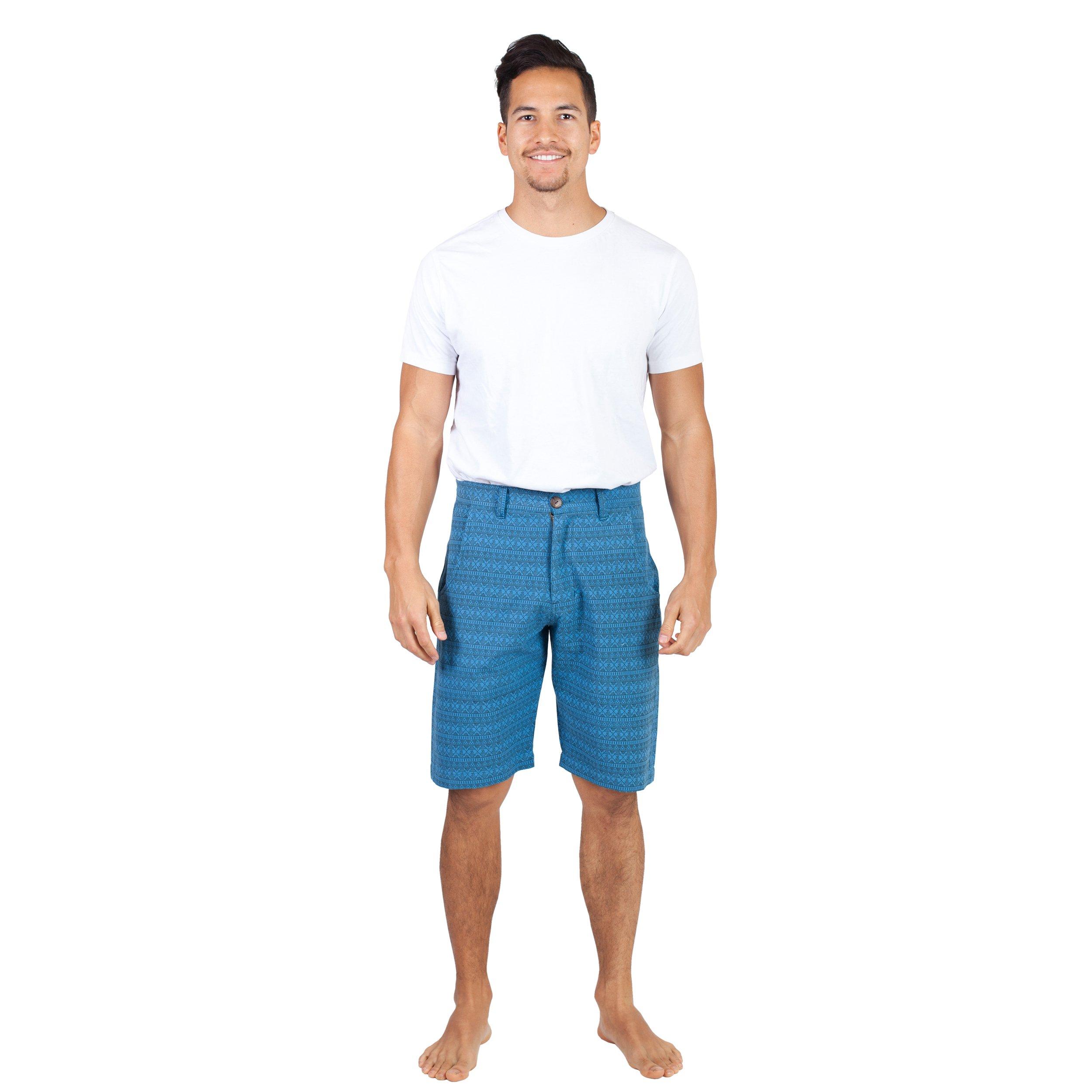 Men's Slim Fit Summer Love Shorts-Blue-XLarge