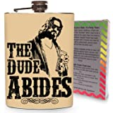 The Dude Abides Flask Stainless Steel 8oz Liquor Alcohol Metal Drinking Whiskey Flasks Big Lebowski Movie - Gift Box