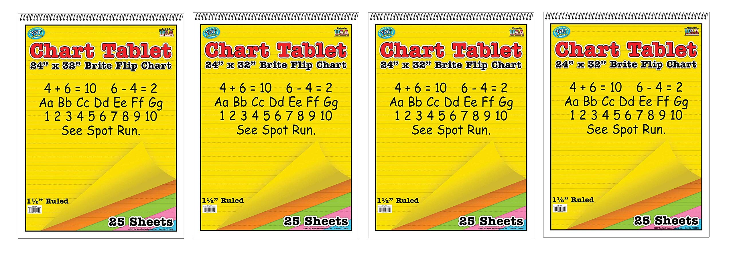 Top Notch Teaching TOP3820 Brite Chart Tablet, 1-1/2'' Ruled, Assorted Colors, 24'' Width, 32'' Length, 25 Sheets (Fоur Paсk) by Top Notch Teaching