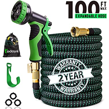100 ft Expandable Garden Hose,Lightweight Garden Water Hose with 3/4 inch Solid Brass Fittings, 9 Function Spray Nozzle Expanding Garden Hoses,Durable Outdoor Gardening Flexible Hose for Yard