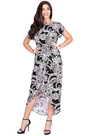 c675dcc03807 KOH KOH Womens Long Floral Print Casual Asymmetrical Short Sleeve Midi Dress  at Amazon Women s Clothing store