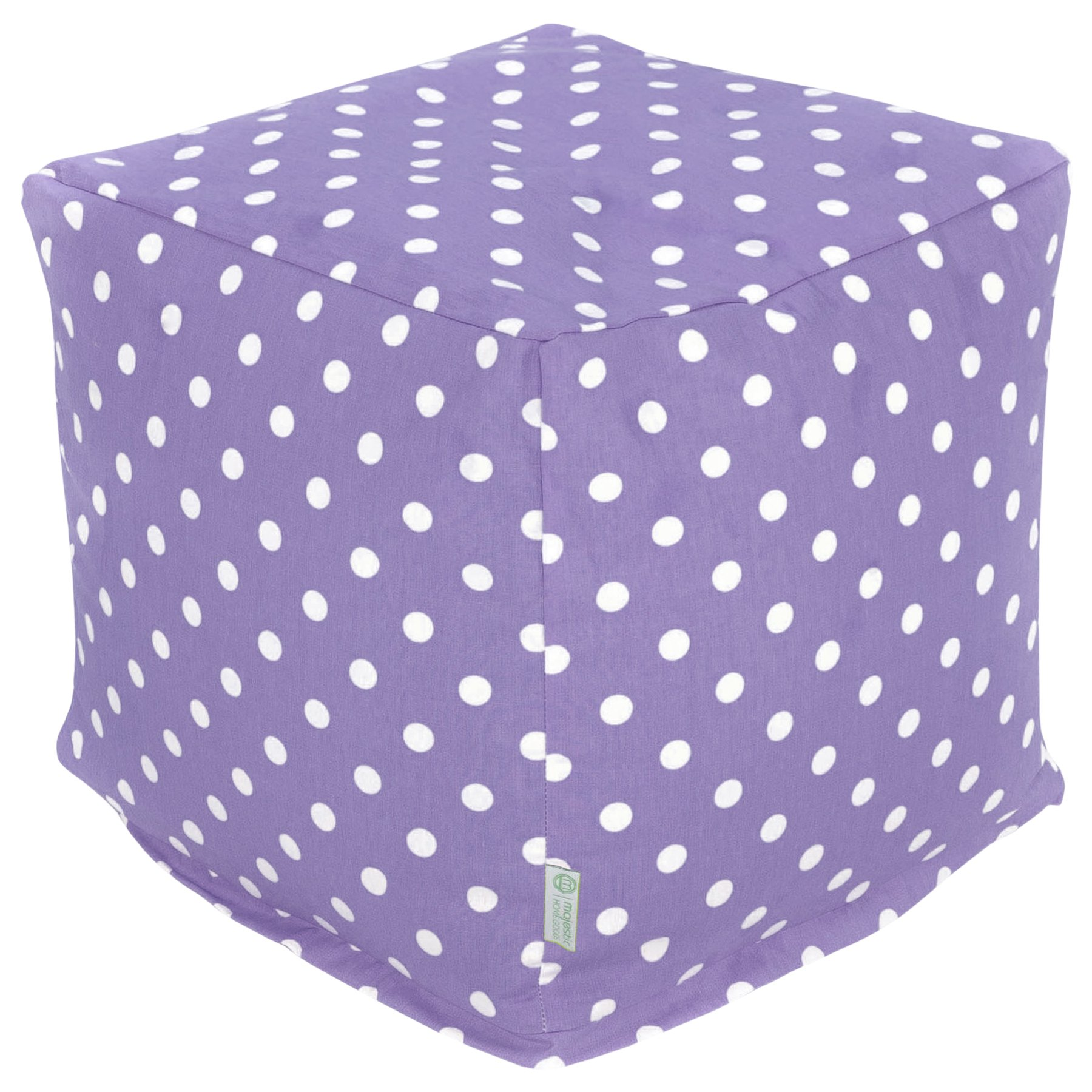 Majestic Home Goods Lavender Small Polka Dot Indoor Bean Bag Ottoman Pouf Cube 17'' L x 17'' W x 17'' H
