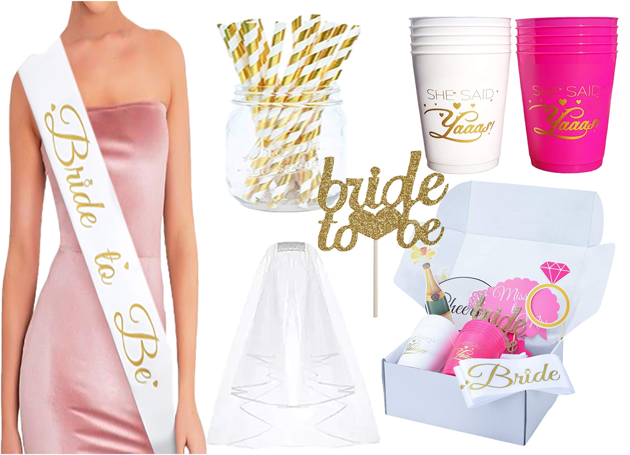 Maid with Honor Bachelorette Party Decorations, 65 Items Included, Bride to be Sash, Veil + Comb, 10 Cups, 2 Gold Banners, 10 Balloons,16 Photo Props, Cake Topper, Gold Straws, More
