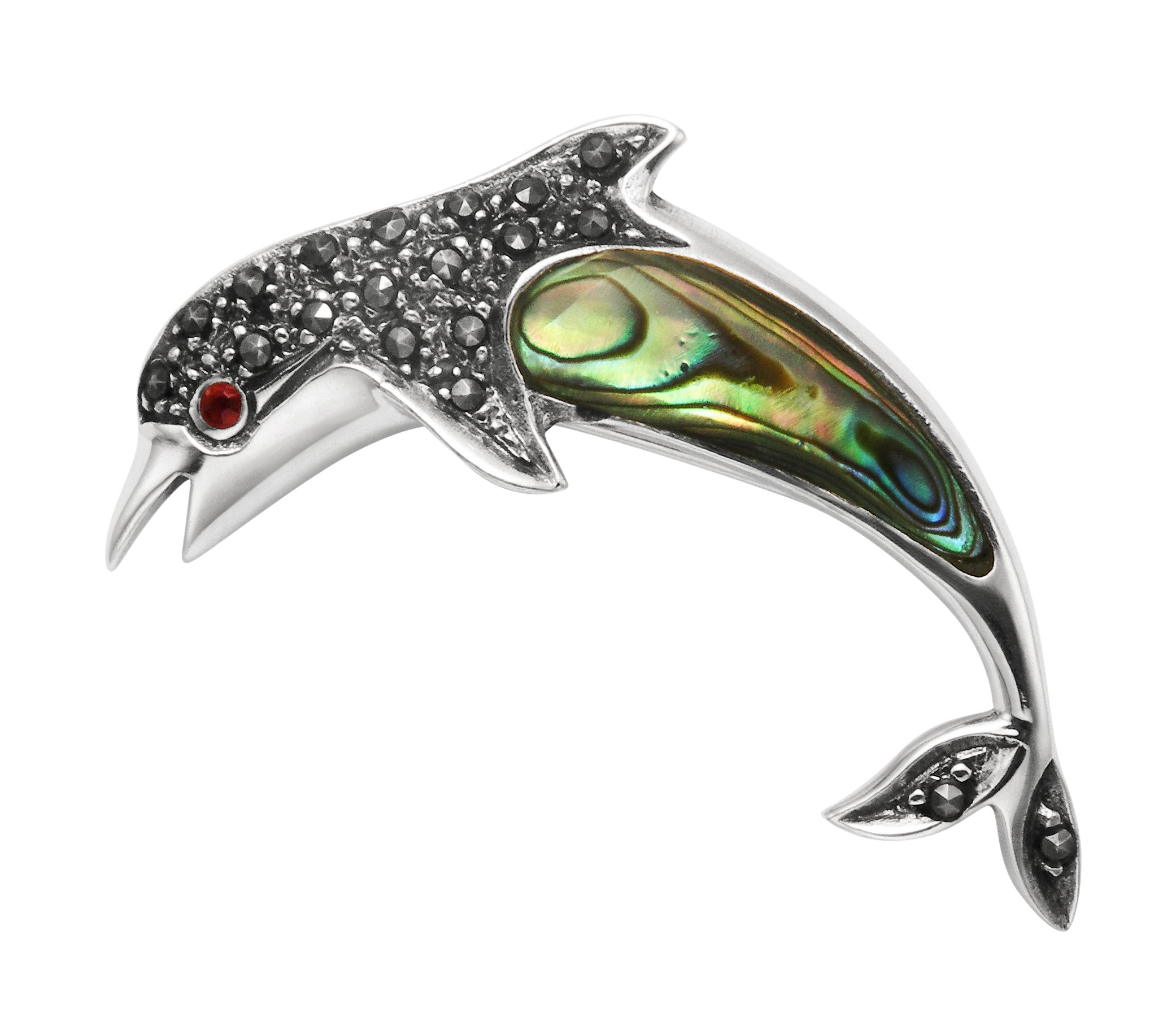 Sterling Silver, Marcasite & Abalone Shell Jumping Dolphin Pin