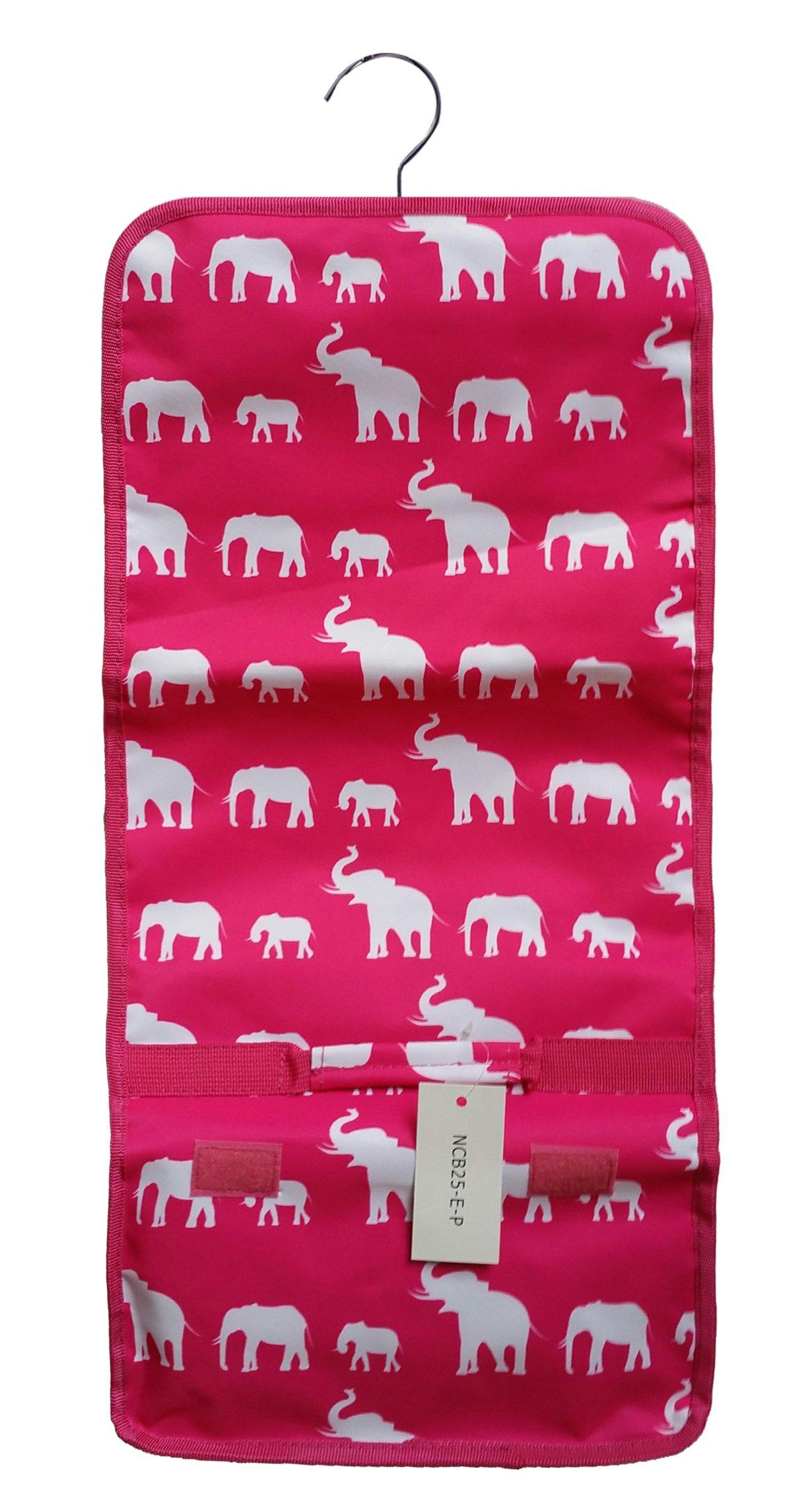April Fashions NCB25-E-P Pink White Elephant Hanging and Folding Cosmetic Organizer Storage