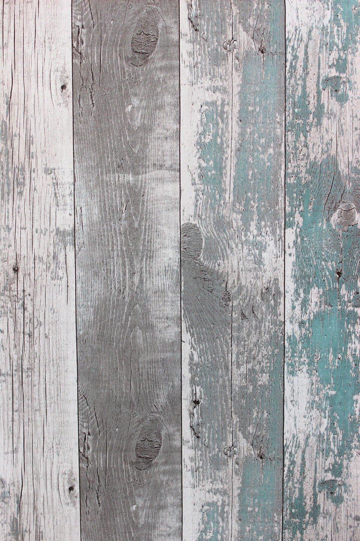 Rustikal holz  Vlies Tapete Antik Holz rustikal verwittert petrol grau ...