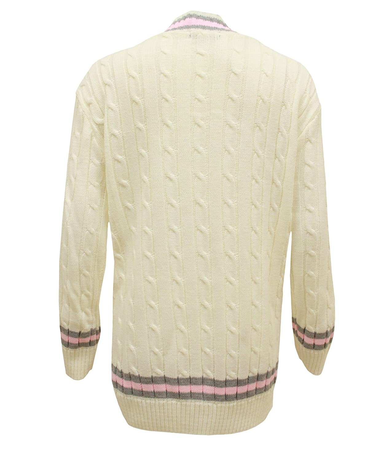 Sphere New Ladies V Neck Chunky Cable Knit Cricket Jumper Sweater One Size 8-14 Beige