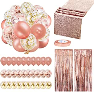 Rose Gold Balloons Party Decorations Supplies Set 35 Pack Include 30 Balloons, 2 Foil Fringe Curtains, 1 Rose Gold Sequin Table Runner, 2 Foil Ribbon for Birthday Party, Wedding,Xmas New Year Festival