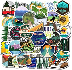 50 Outdoor Adventure Stickers Wilderness Nature VSCO Stickers Pack Hiking Camping Travel Waterproof Vinyl Decals for Water Bottle Hydro Flask Laptop Luggage for Adults Teens Girls (Adventure 50)