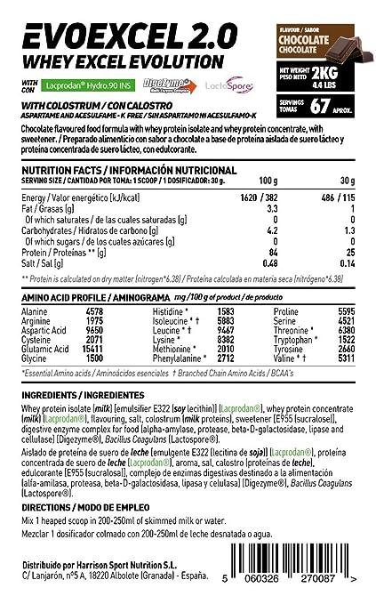 HSN Sports - Evoexcel 2.0 - Mezcla de Proteína de Suero de Leche (Whey Protein) - Sabor Chocolate - 2000 gr: Amazon.es: Salud y cuidado personal