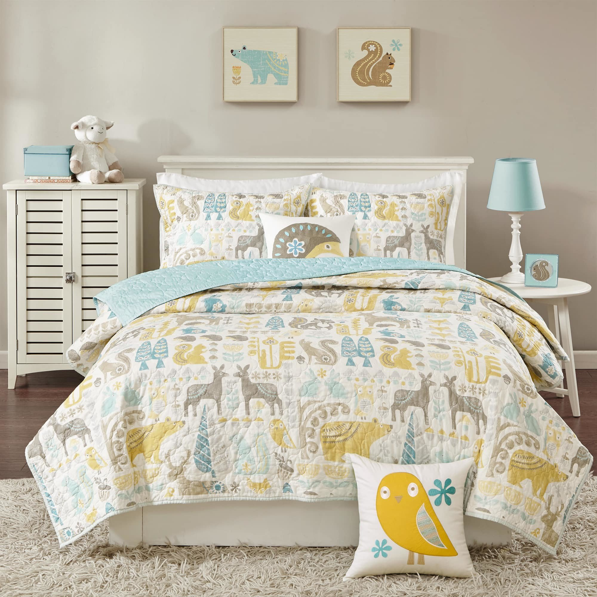 4 Piece Kids Blue Animal Print Theme Full Queen Size Coverlet Set, Brown Yellow Blue Cute Bear Owl Deer Porcupine Bedding, Floral Flowers Fox Hedgehog Patterned, Cotton