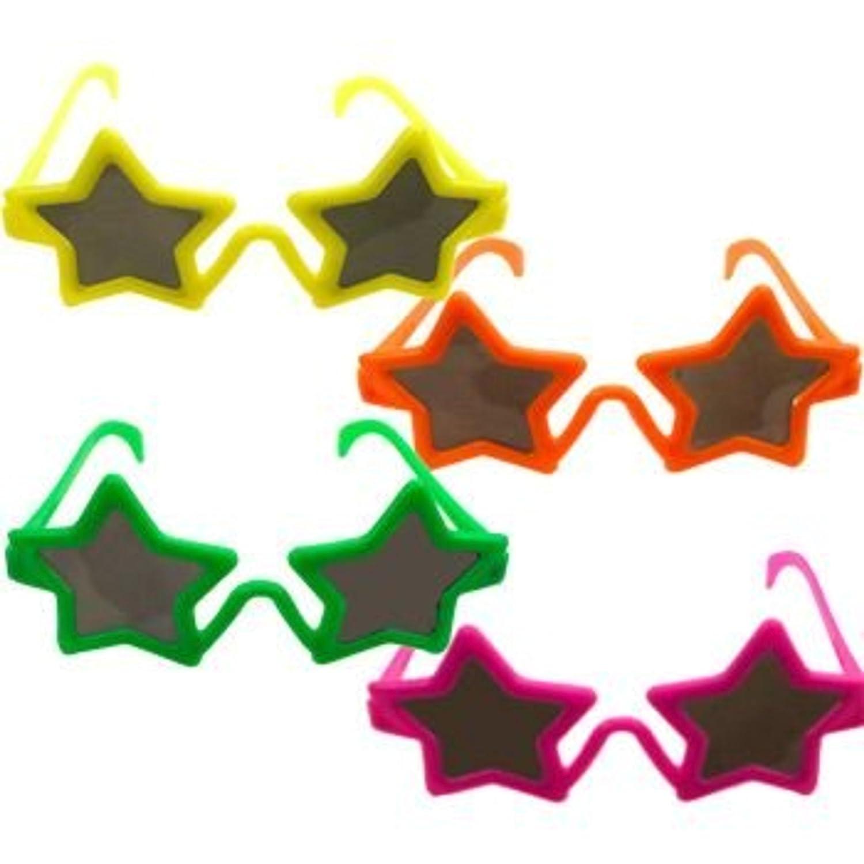 BULK,Multi Color,One Size Fun Express STAR SHAPE KIDDIE SUNGLASSES 1 DOZEN