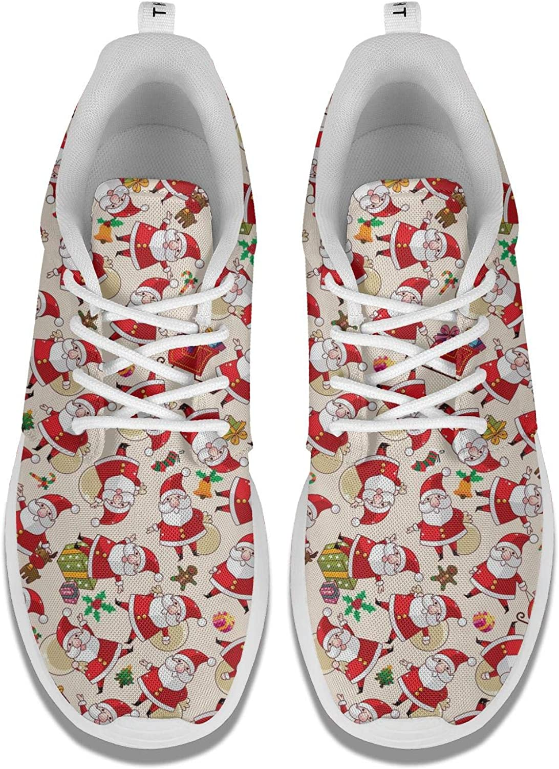 Womens Athleisure Sneakers Dachshund Christmas with Red Hat Ultra Lightweight Breathable Mesh Christmas Fashion Shoes for Ladies