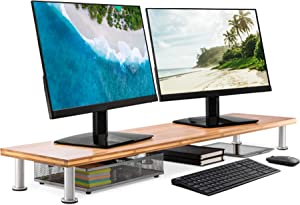 Large Dual Monitor Stand for Computer Screens - Solid Bamboo Riser Supports The Heaviest Monitors, Printers, Laptops or TVs - Perfect Shelf Organizer for Office Desk Accessories & TV Stands (Natural)