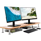 Large Dual Monitor Stand for Computer Screens - Solid Bamboo Riser Supports The Heaviest Monitors, Printers, Laptops or TVs -
