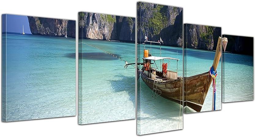 Bilderdepot24 Cuadros en Lienzo Maya Bay, KOH Phi Phi Ley - Tailandia - 200x80 cm 5 Piezas - Enmarcado Listo Bastidor Imagen. Directamente Desde el Fabricante: Amazon.es: Hogar