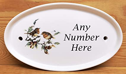Robin Scene Birds Oval Horizontal House Door Number Plaque Ceramic Sign Number