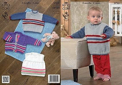 King Cole bebé Aran patrón para tejer chaqueta camiseta sin ...