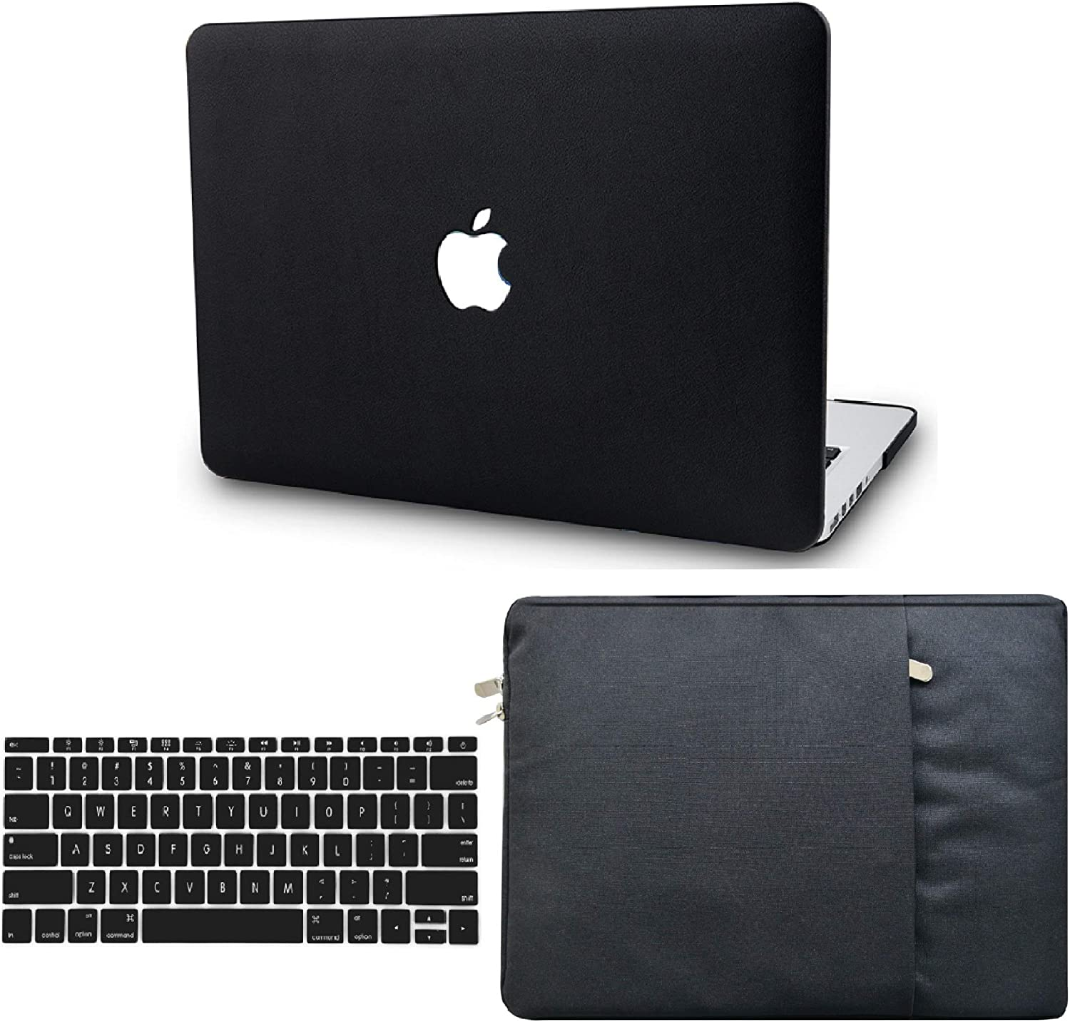 """KECC Laptop Case for Old MacBook Pro 15"""" Retina (-2015) w/Keyboard Cover + Sleeve Italian Leather Case A1398 3 in 1 Bundle (Black Leather)"""