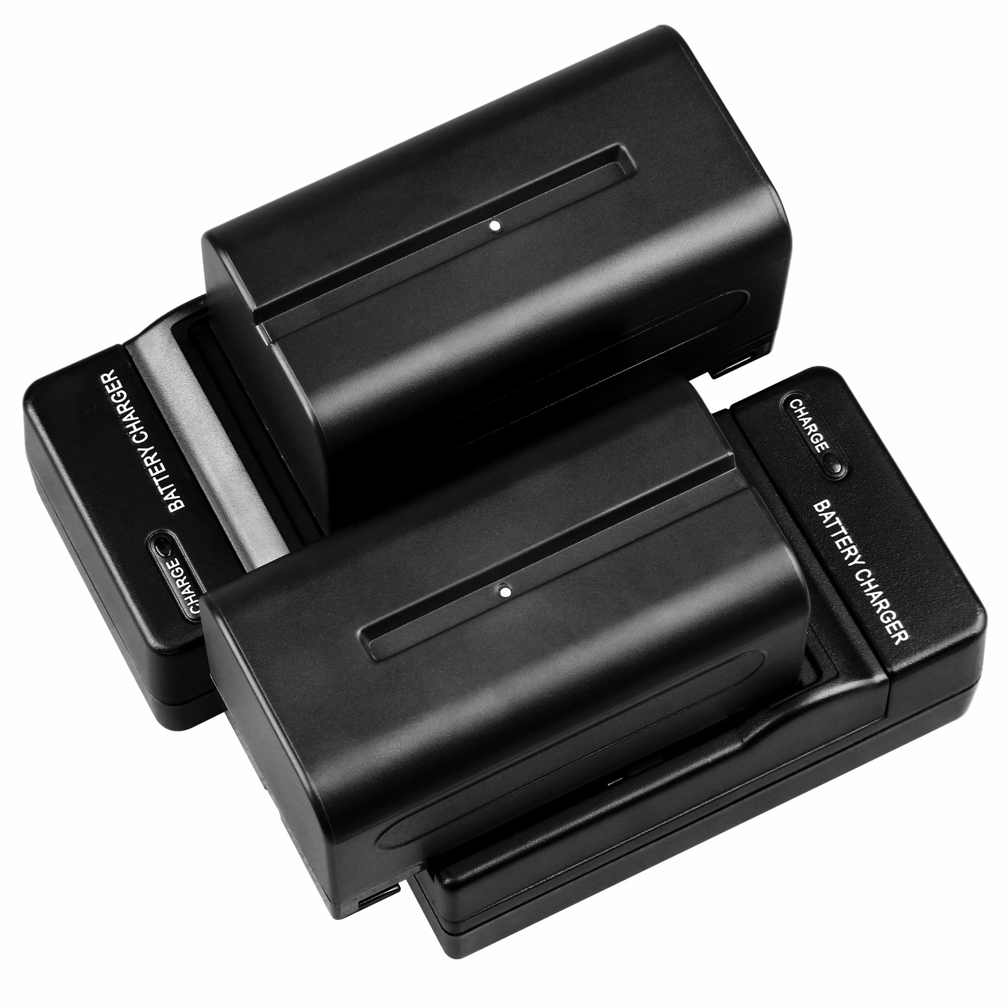 GVM Li-ion NPF 750 Replacement Battery 4400mAh 2 Pieces Batteries With 2 Charger Fit For Sony HandyCams, GVM Led Video Light 480ls, 520ls, 520s 672s And Other LED On-Camera Photography Lighting