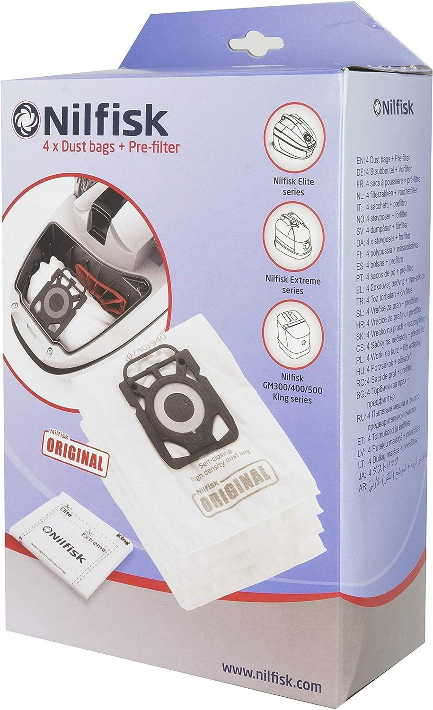 Nilfisk - 107407940 - 4 bolsas de aspiradora + prefiltro