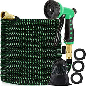 Vhccirt 150ft Expandable Garden Hose with 8 Function Nozzle, Expanding Garden Water Hose Pipes with 3/4