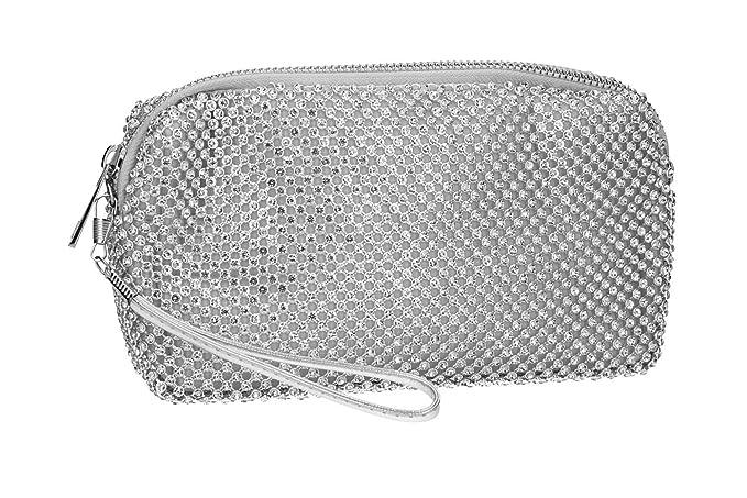 6727aac8f7 MICHELLE MOON Borsetta donna pochette argento da cerimonia con strass  VN2355: Amazon.it: Abbigliamento