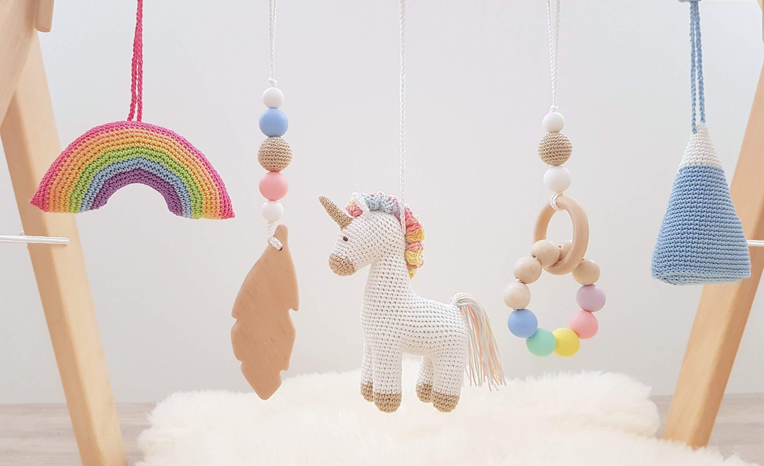 Rainbow Unicorn Baby Play Gym with 5 Mobiles: Unicorn, Rainbow, Mountain, Feather, Beaded Ring. Handmade by… 5