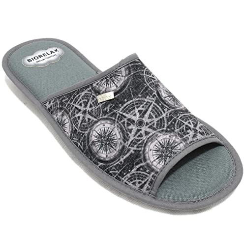 Cosdam 1413 - Zapatillas de Estar Por Casa Hombre Verano Biorelax con Rosa de los Vientos Gris: Amazon.es: Zapatos y complementos