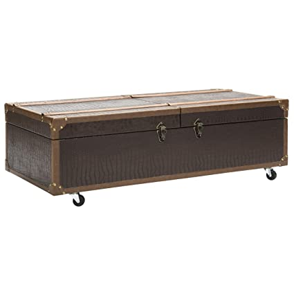 Safavieh FOX9515A Home Collection Zoe Brown Storage Trunk With Wine Rack  Coffee Table