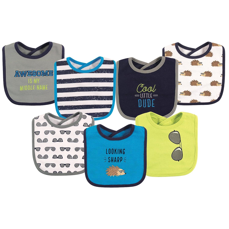 Hudson Baby unisex-baby Baby Cotton Drooler Bibs, 7 Pack Gentleman One Size 10551030_Gentleman