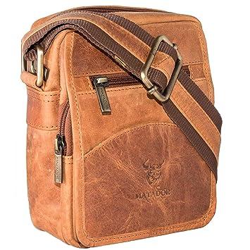 8fd7b0069aabe MATADOR Echt Leder Kleine Umhängetasche Schultertasche Reisetasche  Herrenhandtasche Tasche (Tan Braun)