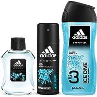 Adidas For Men Ice Dive Ea de Toilette, 100 ml + Shower Gel, 250 ml + Deodorant Body Spray, 150 ml