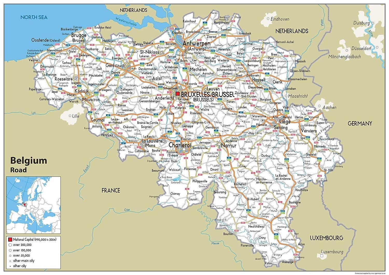 Belgique carte politique/ /Papier lamin/é A2 Size 42 x 59.4 cm