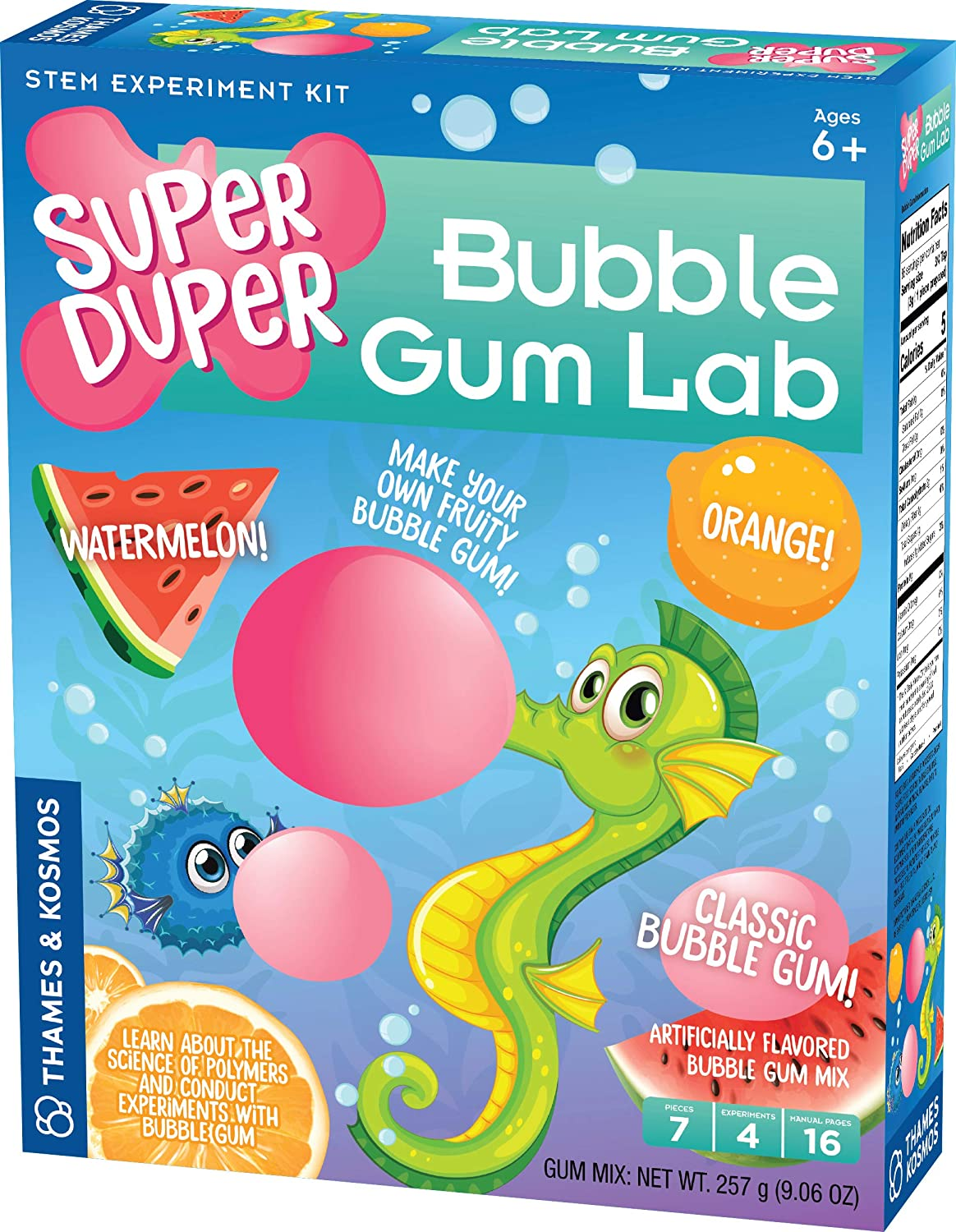 Thames & Kosmos Super Duper Bubble Gum Lab STEM Experiment & Activity Kit | Make Your Own Yummy Bubble Gum in 3 Flavors! | Learn About Science of Elastic Materials | Food Ingredients Included