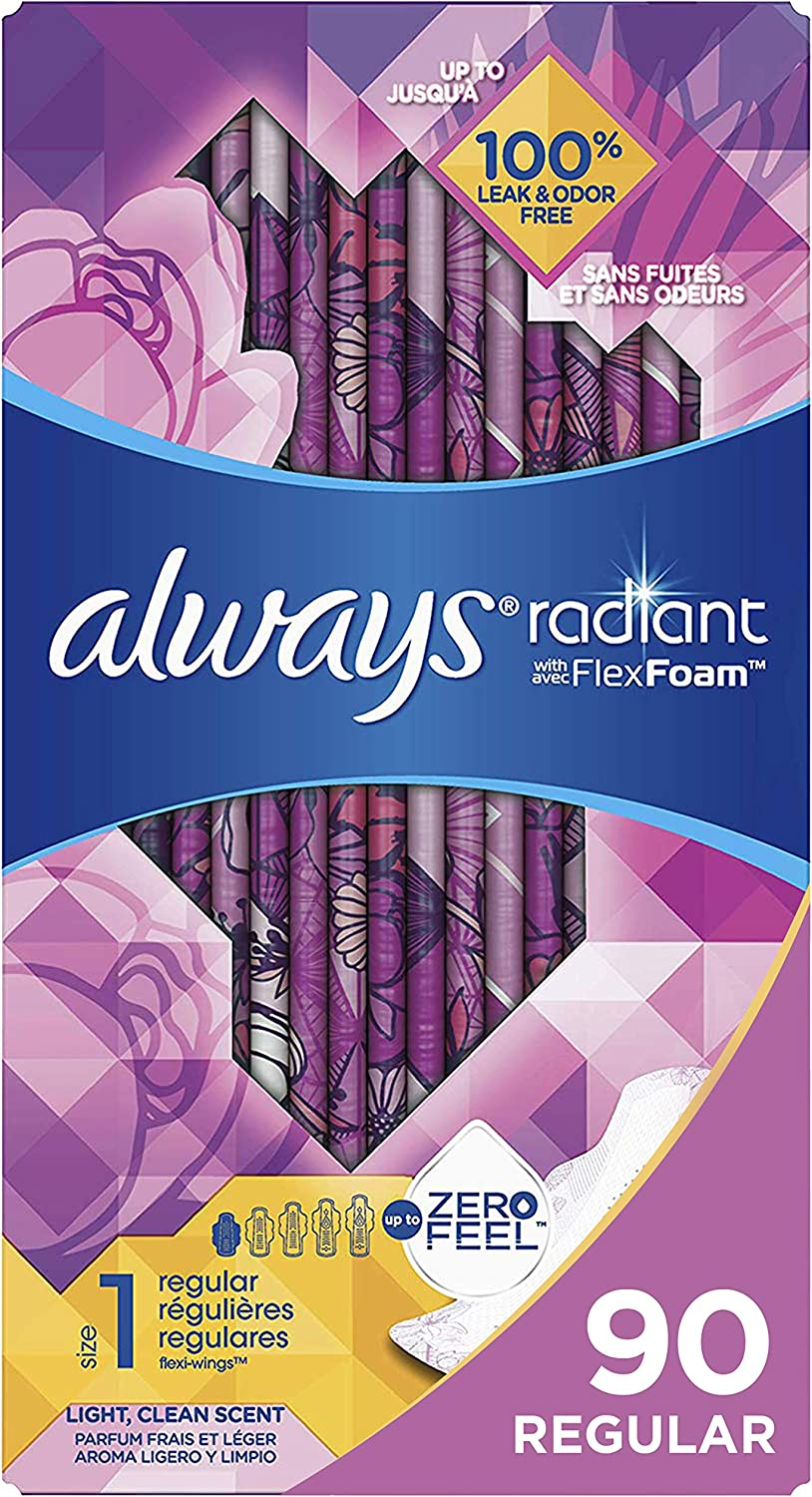 Always Radiant Feminine Pads for Women, Size 1, 90 Count, Regular Absorbency, Light Clean Scent (30 Count, Pack of 3 - 90 Count Total)