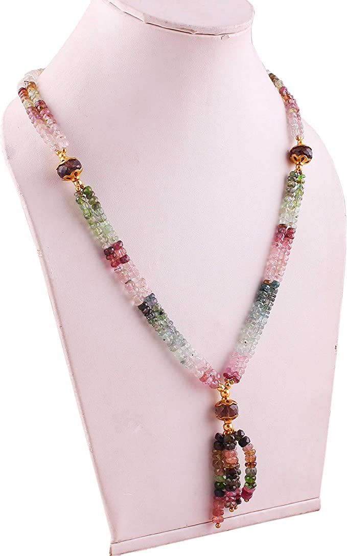 Pink Tourmaline Beaded Necklace,Natural Tourmaline Necklace,3.5-6MM Faceted Gemstone Jewelry,Tourmaline Beads Mala,925 Sterling Silver Clasp